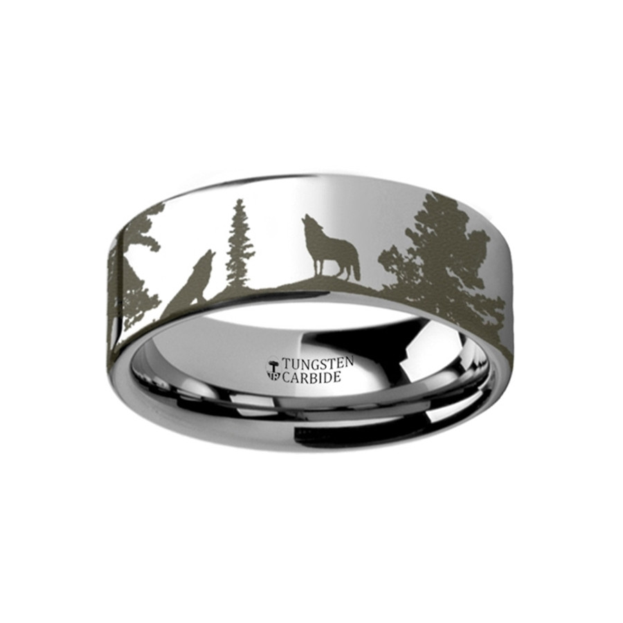 Acoetes Landscape Scene Wolf Wolves Engraved Flat Tungsten Ring from Vansweden Jewelers