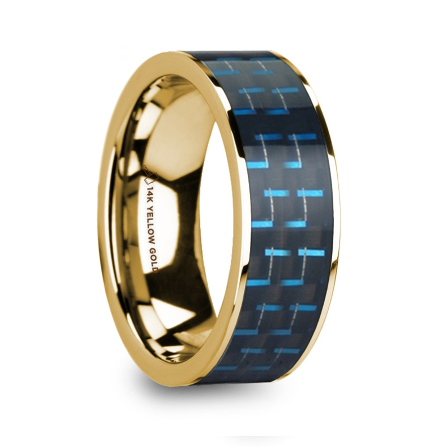 Arisbas Polished 14k Yellow Gold Menu0027s Wedding Ring With Black U0026 Blue Carbon  Fiber Inlay From