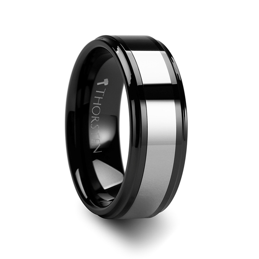 chrysothemis raised center black ceramic ring with tungsten inlay from vansweden jewelers - Ceramic Wedding Rings