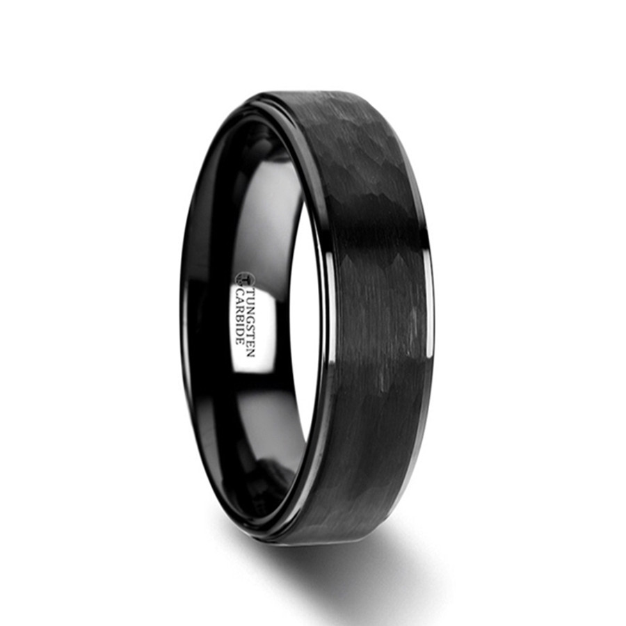 Aion Raised Hammer Finish Step Edge Black Tungsten Carbide Wedding Band With Brushed From Vansweden