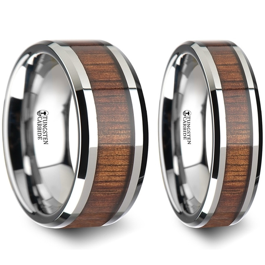 Tiresias Koa Wood Inlaid Tungsten Carbide Couples Matching Wedding Band Set From Vansweden Jewelers