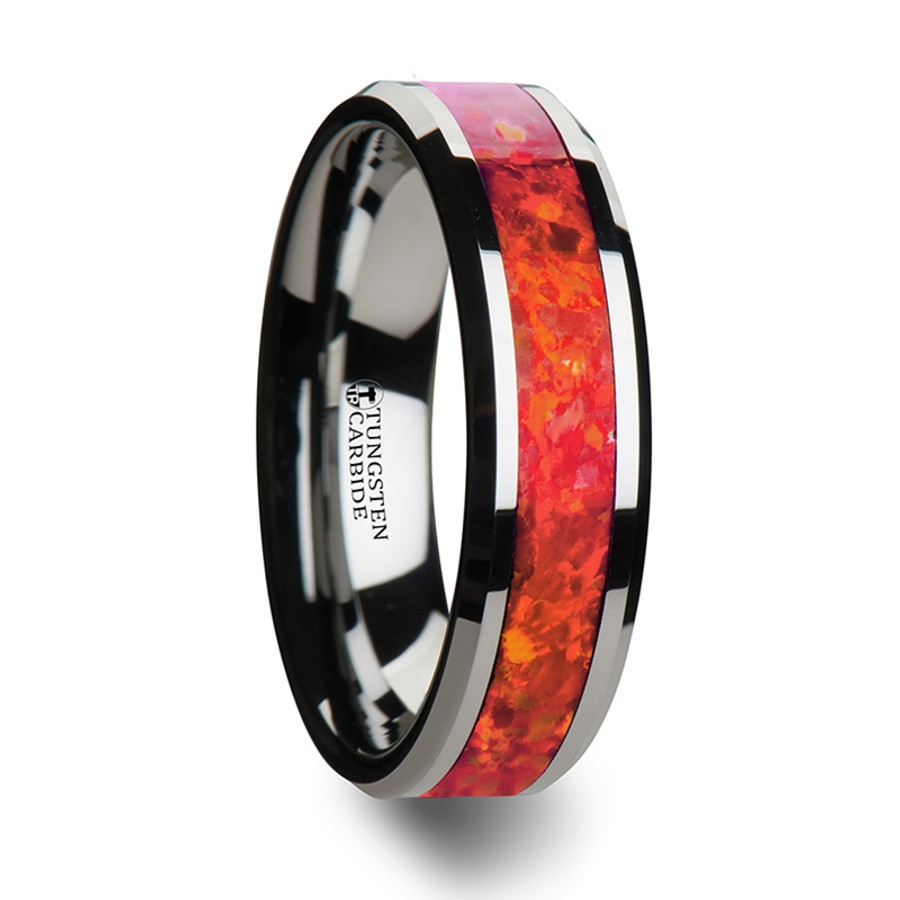 Andromeda Tungsten Wedding Band with Beveled Edges and Red Opal Inlay from Vansweden Jewelers