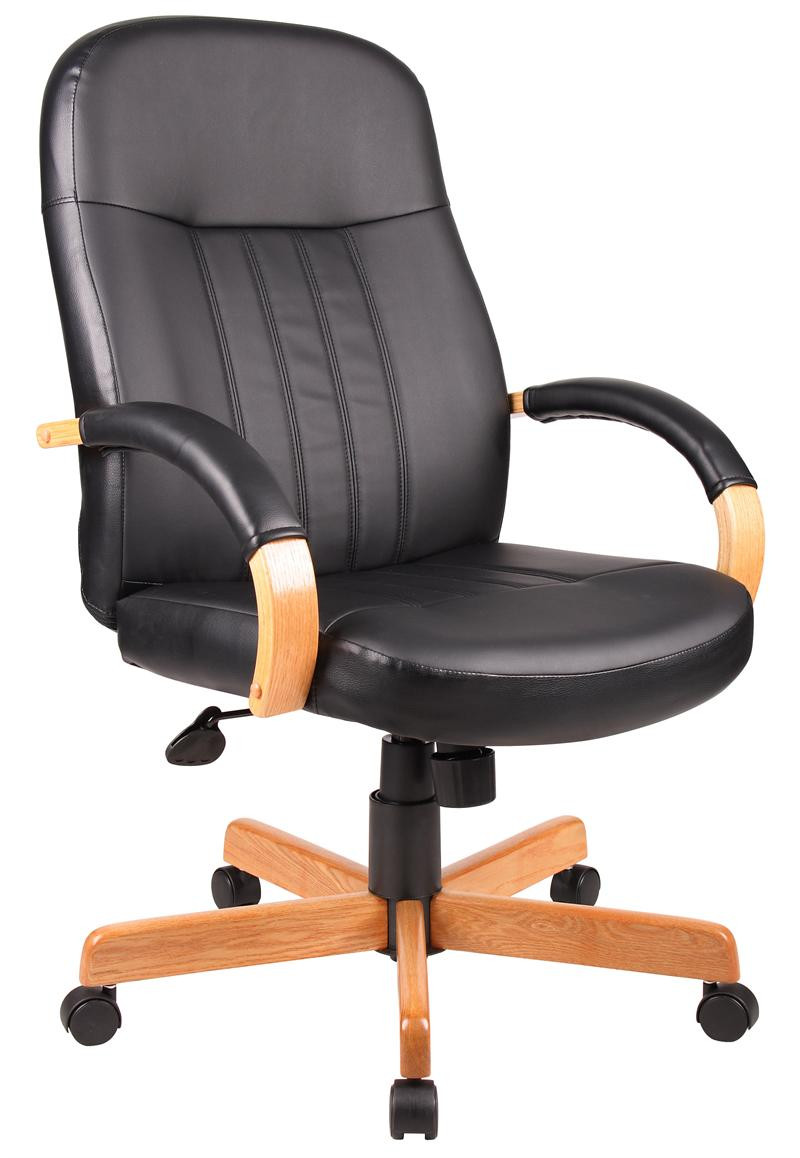boss office furniture hi back exec chair with oak finish