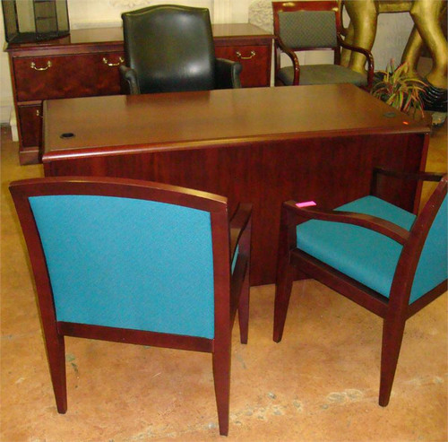 used wood laminate double pedestal desk orlando office furniture