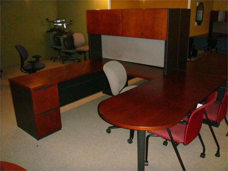 used u shape bullet top desk with side mount hutch