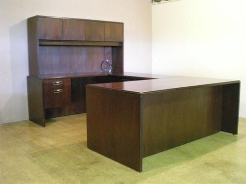 used indiana desk mahogany u shape with 3672 desk 4824 bridge and