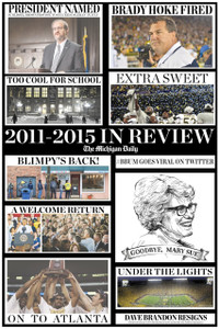 Capture your tenure here at the University of Michigan by picking up a copy of The Michigan Daily's 2011-2015 in review poster! This poster recaps the highlights from the 2011-2015 school years by compiling top headlines.