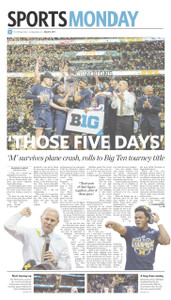 "A glossy print of the March 13, 2017 Sports Monday front page following Michigan's Big Ten tournament championship victory on March 12, 2017. Poster size = 11"" x 17"""