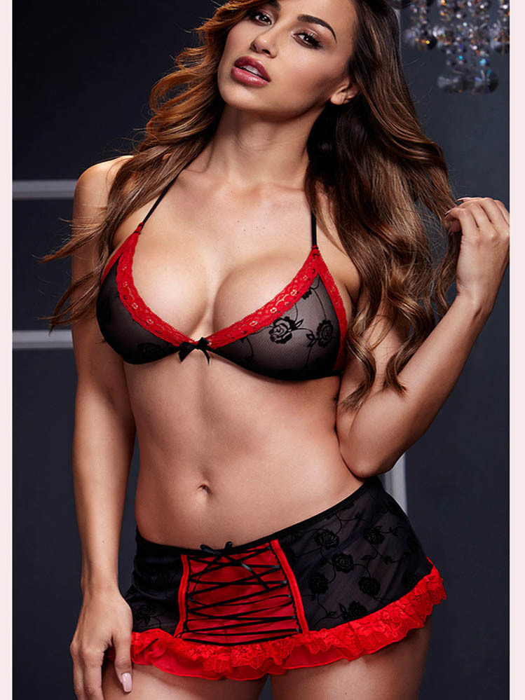 Lace Trimmed Sexy Bra And Mini Skirt Lingerie Set