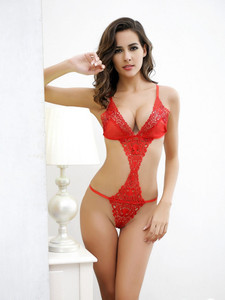 Intimate Teddy Lingerie With Open Front And Sides In Red Equipped With Cut Out Sides And Front With V String Bottom