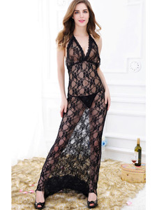 Floral Lace Sleeveless Chemise Gown Lingerie In Black With Halter Neck Design