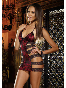 Romantic Red Chemise Lingerie Slip With Floral Lace Overlay In Stretch Lace And Lycra With Horizontal Strap Design
