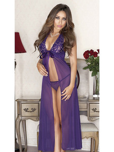 Long Violet Purple Lace Flyaway Gown Chemise Lingerie will ignite the ravishing siren inside you