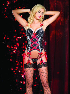 Black Basque Garter Slip Lingerie With Polka Dots Design that will transfix all eyes in your direction