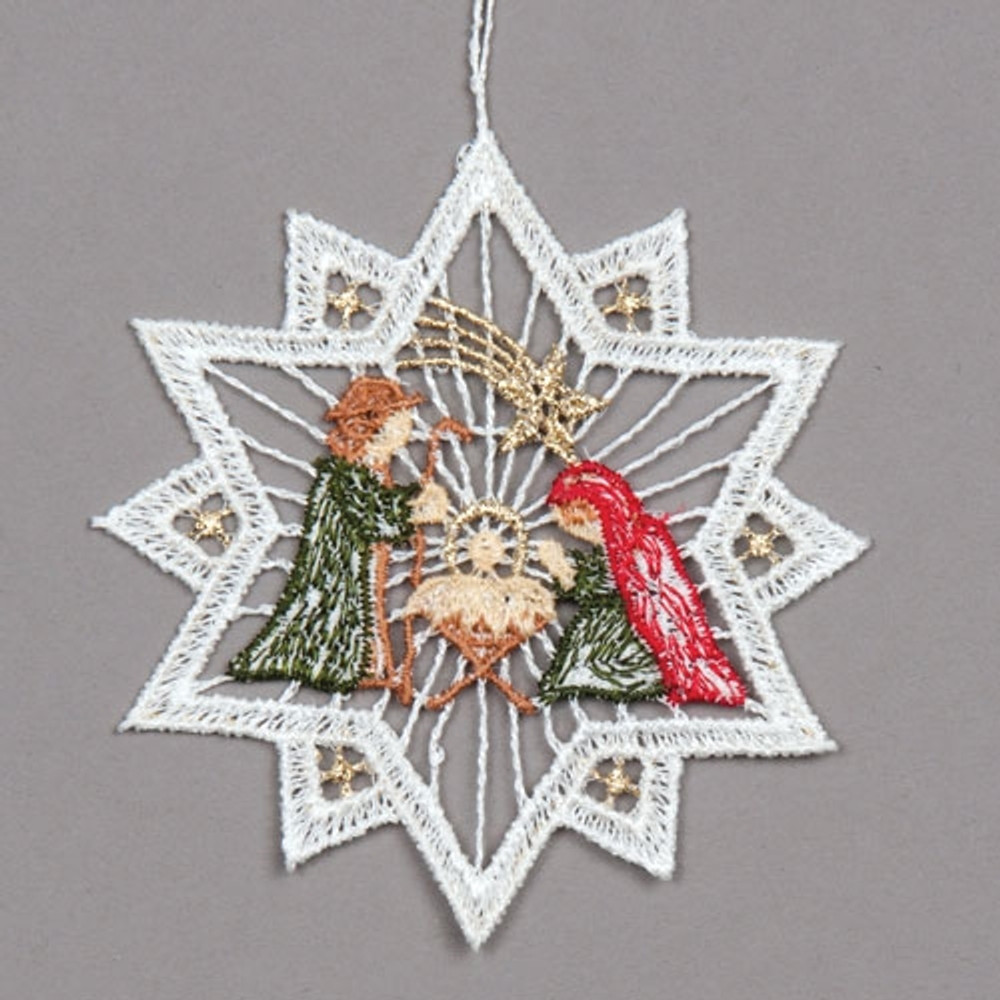 Star with Holy Family Linen Ornament