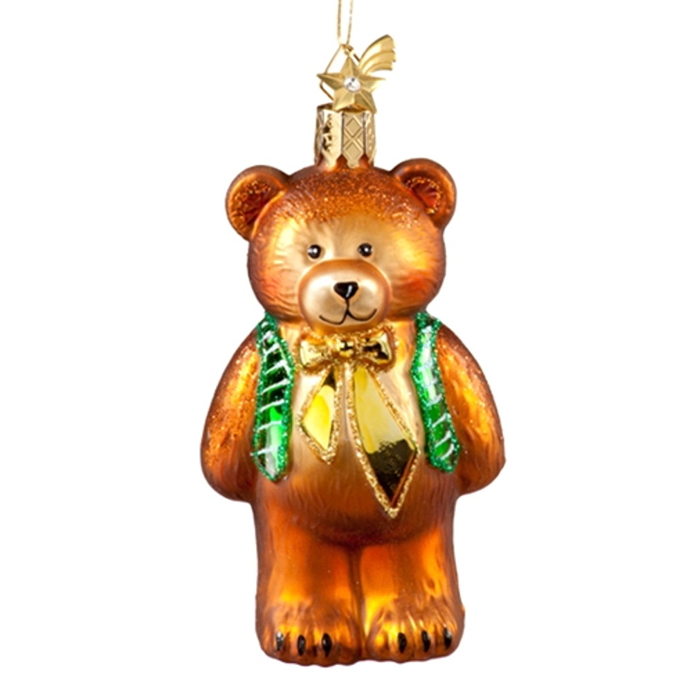 Teddy with Vest and Gold Bow