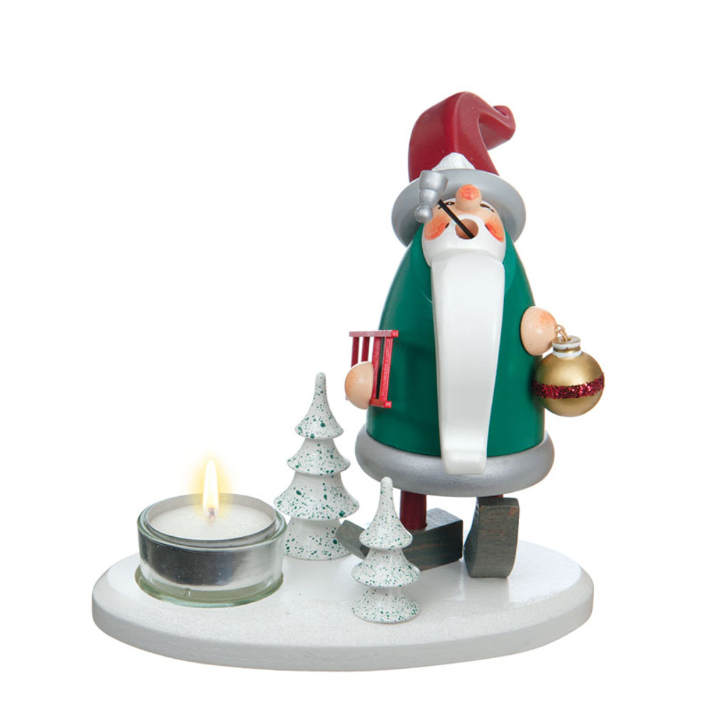 Elf with Ornament Smoker-Candleholder