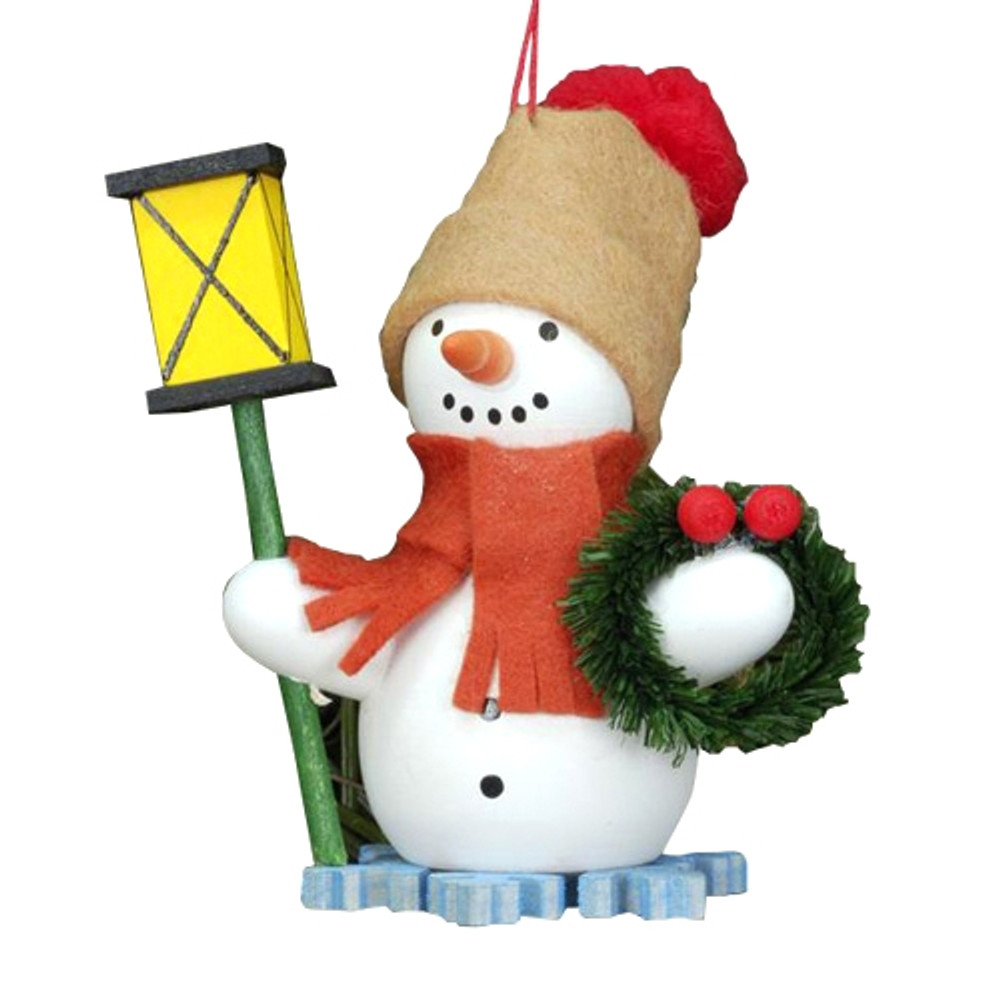 Snowman with Lantern and Wreath