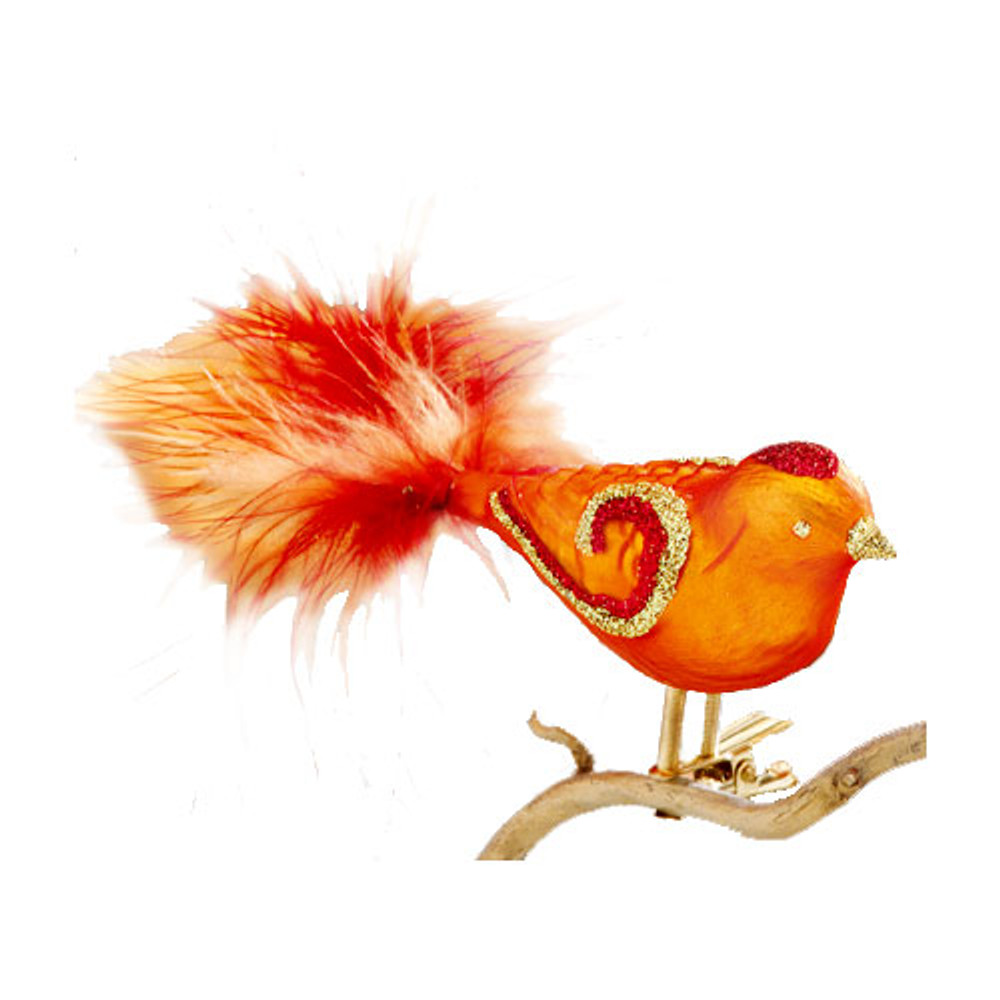 Orange with Red and Gold Glass Clip Bird