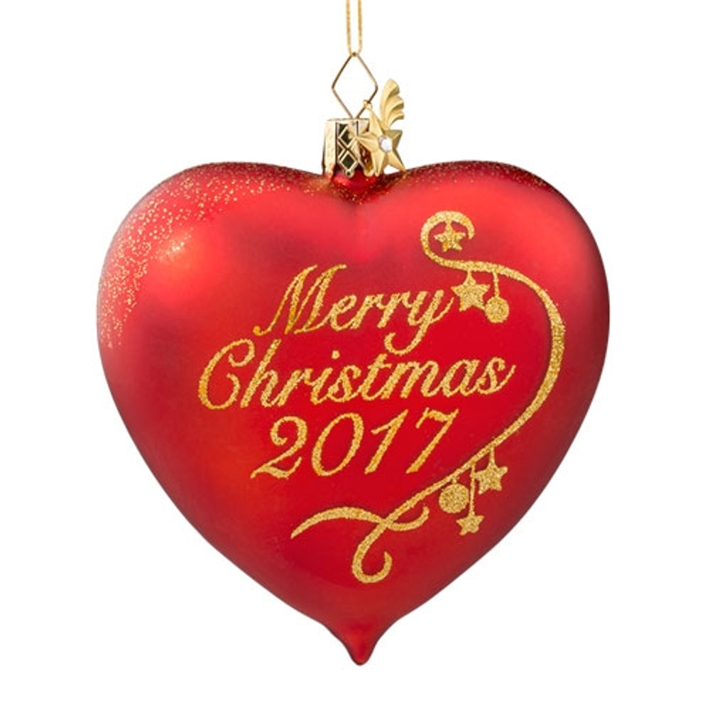 Merry Christmas 2017 Glass Ornament