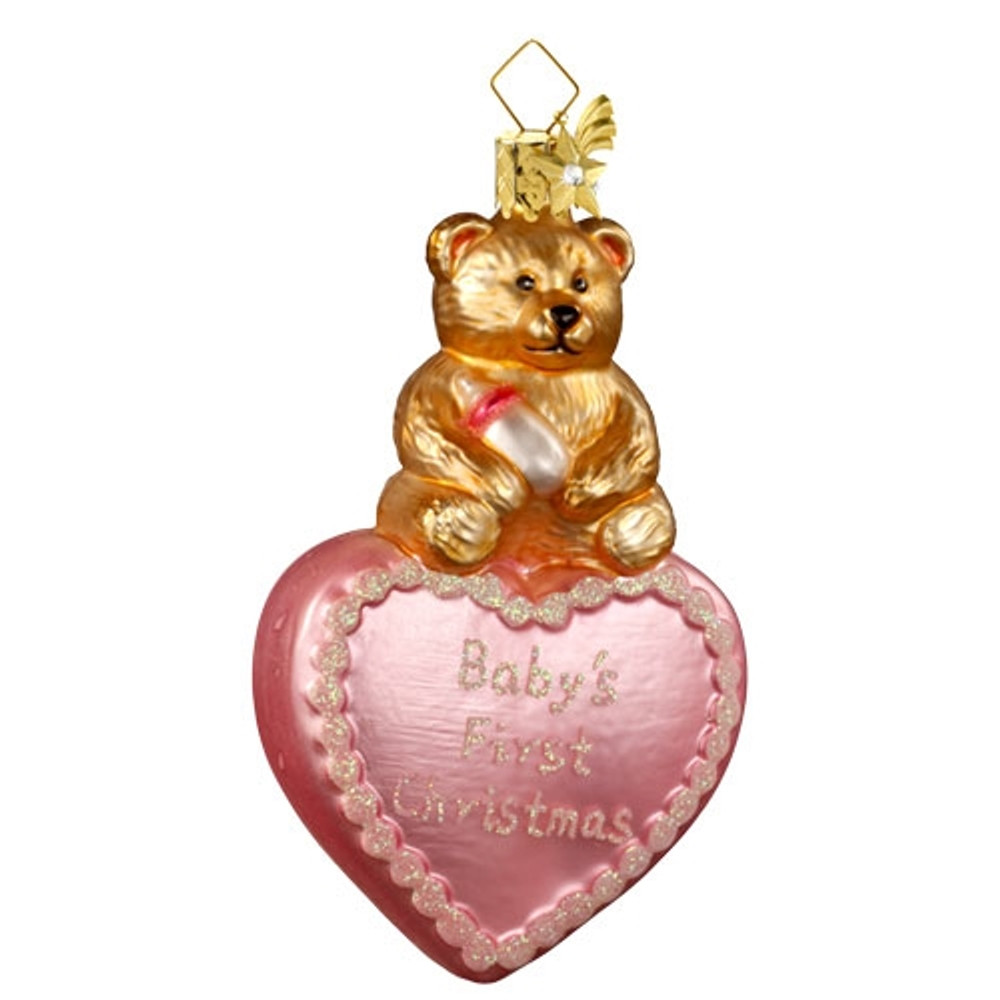 Pink First Christmas Heart with Bear