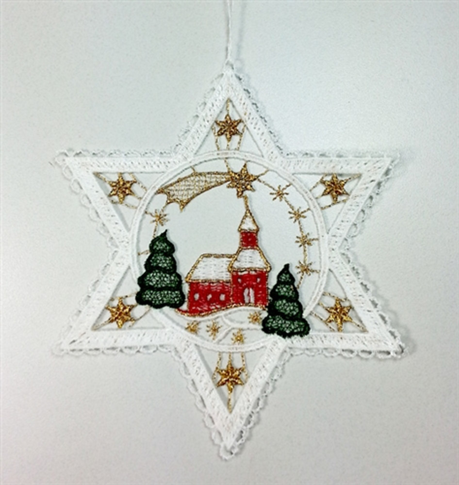 Church in Star Linen Ornament