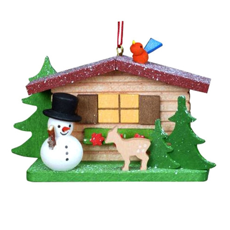 Cabin with Snowman