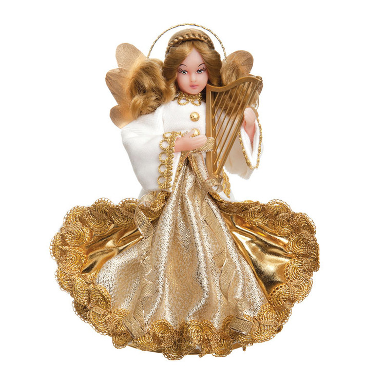 White Velvet Angel with Harp