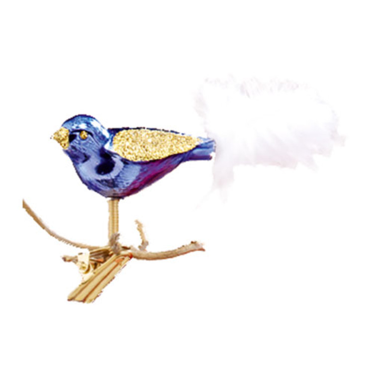 Purple and Gold Glitter Clip Bird with White Tail