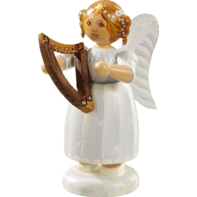 White Dress Angel with Hand Harp