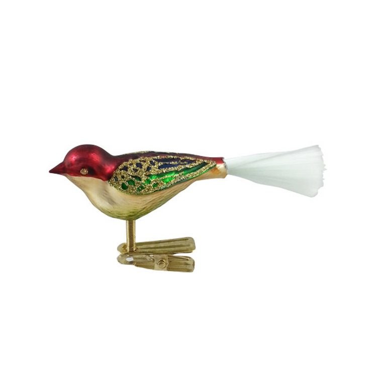 Gold, Red and Green Bird with White Tail