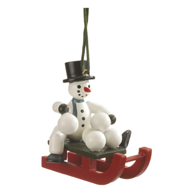 Snowman on Sled and Snowballs