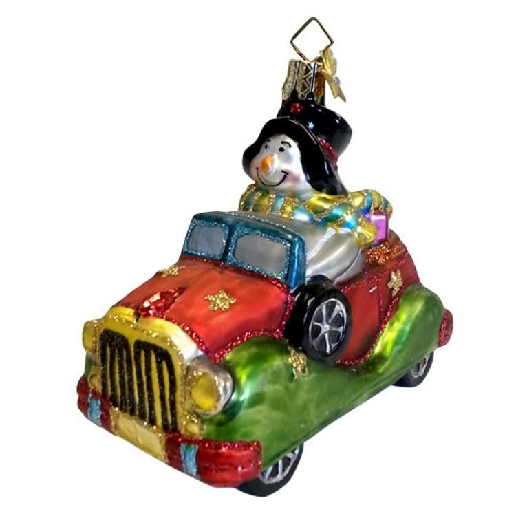 Snowman Driving a Car