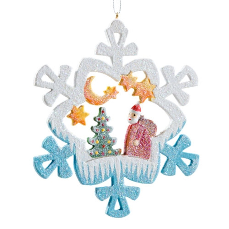 Frosty Santa with Tree Wood Ornament