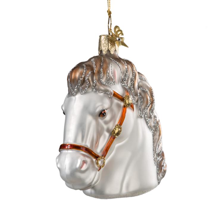 White Horse Glass Ornament