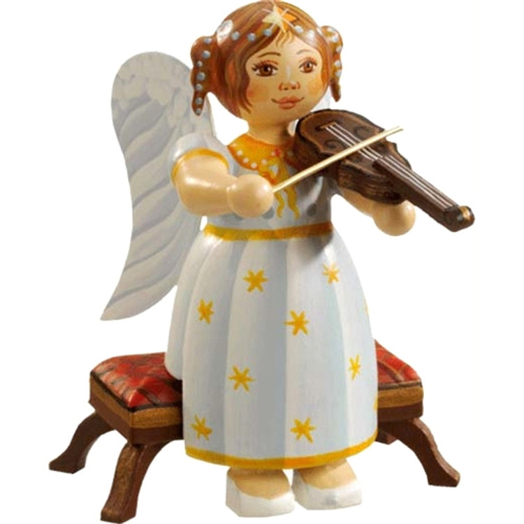 Yellow Stars Angel Sitting with Violin