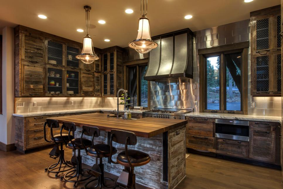 rustic kitchen with brown and white butcher block epoxy countertops