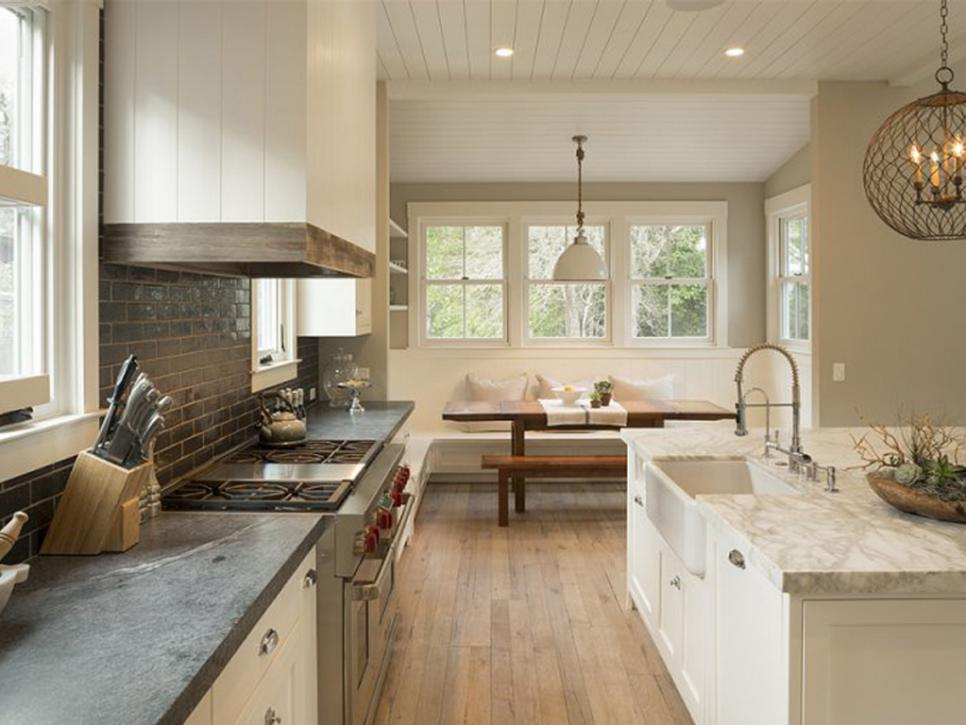 modern farmhouse kitchen with grey and travertine marble epoxy countertops