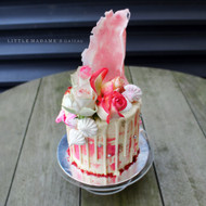 pink white watercolour effect drip cake