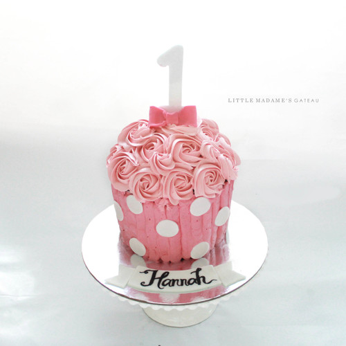pink giant cupcake kids birthday cake