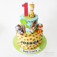 safari animal two tiered cake