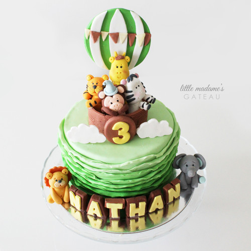 fun safari hot air balloon themed kids birthday cake
