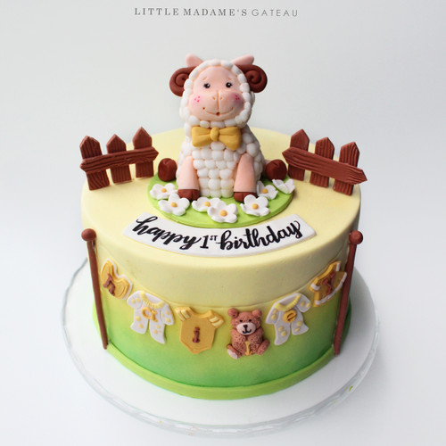 yellow sheep kids birthday cake