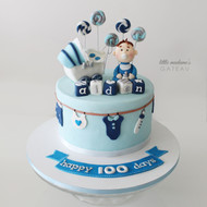 blue custom cake 100 days celebration