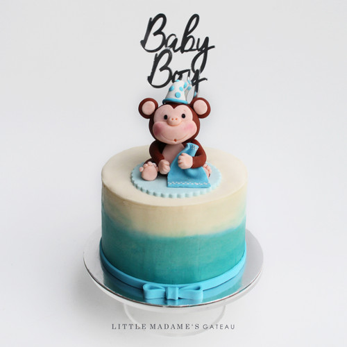 blue ombre baby boy monkey cake