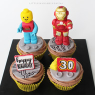 lego and iron man cupcakes