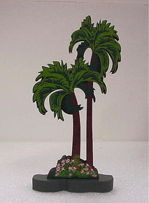 2 TROPICAL PALM TREES - 1997 - SET OF TWO Shelia's MIB Made in Charleston SC
