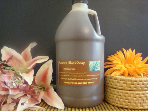 Lemongrass - RAW LIQUID AFRICAN BLACK SOAP 64 OZ (1/2 GALLON) Free Shipping