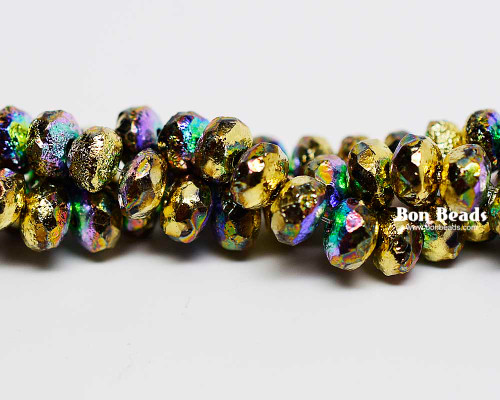 4x7mm Gold Ore AB Etched Rondelles (300 Pieces)