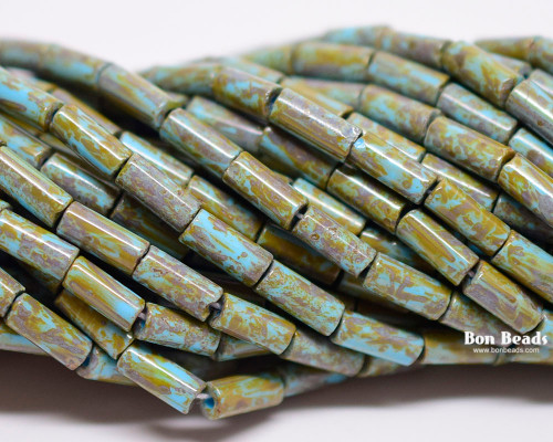 9x4mm Aged Wampum Blue Turquoise Picasso Bugle (1/4 Kilo)